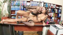 Big tits secretary with glasses gets anal from the boss