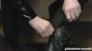 Hot busty kinky babes put on sexy leather boots then tease and finger pussy Model busty