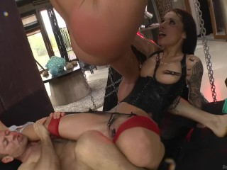 Rough squirting threesome...