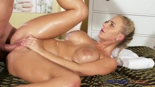Massage Rooms Horny big boobs blonde sucks and fucks meaty cock