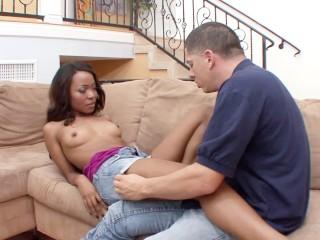 Tight ebony teen fucks her white stepbrother