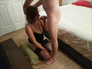 Sexy housewife blows me