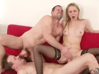Cute blonde in bareback bisexual threeway with her two guy friends