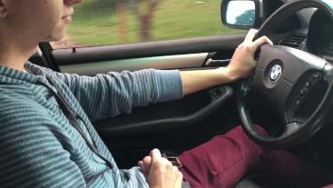 Little Chris jerks off driving us to Grandma's house