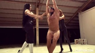 2 Mistresses Ballbusting a Muscular Bodybuilder Slave (Femdom) Tied up  2 mistresses slave bdsm 2 girls 1 guy cbt humiliation femdom bodybuilder domination kink domina ballbusting muscular guy tied up