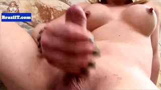 Sensual brazilian tranny stroking her dick