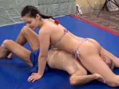 Lana Wrestles In Bikini With Elderly Man