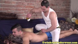 Amateur twink assfingered while jerking off
