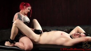 CBT Goddess Soma Pegs her slave and tortures his cock and balls