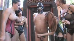 4 Mistress umiliano schiavo mentre bevono champagne CBT dominazione femminile