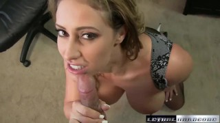 Eva blackmails sons teach then eats his ass and rides dick Doggy blonde