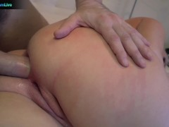 Curvy blonde Angel Vain amazing cumshot after anal