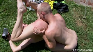 Boys village outdoor action sex blowjob hot
