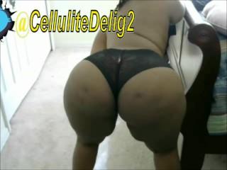 Cellulite delight ebony black lace panties webcam bend...