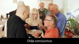 old men gangbang fucking blonde secretary DP and crazy facials