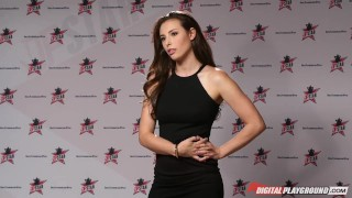 Screen Capture of Video Titled: DP Star 3 - Hot Brunette Pornstar Casey Calvert Deep Throat Blowjob