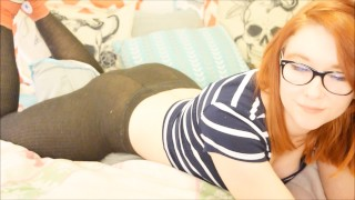 Redhead Humping and Cumming in Converse and Stockings