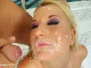Group blowjob given by Myra Lyon on Cum For Cover with messy facial end