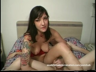 Delicious raven-haired bint has some kinky bedroom fun with her man