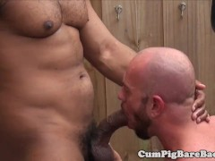 Suspended DILF bear barebacked by BBC