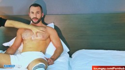 Innocent delivery guy serviced his big cock by a guy!