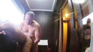 Older Daddy Bareback Fucking His Young Boy on a Boat Tongue latin