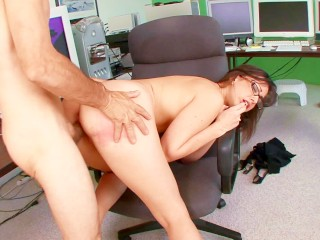 Big tits secretary fucked and facialed by her boss