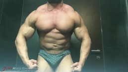 22 Year Old Bodybuilder Strips for the Shower on JockMenLive cams