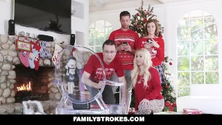 FamilyStrokes - Step-Sis fucked me during family Christmas pictures For young