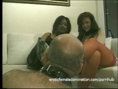 Kinky bald dude really loves being spanked and whipped by two sluts