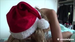 Santa Girl swallows cum