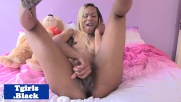 Black transsexual fingers tight butthole