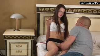 Professional mirella's virginity defloration takes a blowjob fingering
