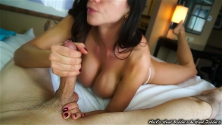 Stepmother swallows son's load porno