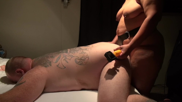 Ebony Bbw Wife Pegging Her Chubby Husband By Huge Strapon -6960
