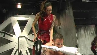 Two hot latex-clad babes have some fun with a raunchy dude