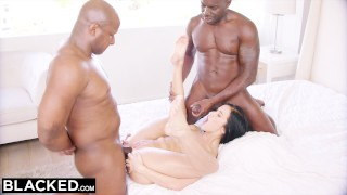 BLACKED Hot Megan Rain Gets DP'd By Her Sugar Daddy and His Friend Cock bbc