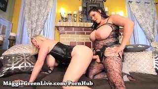 Latin Angelina Castro make Busty Blonde Maggie her Bitch!