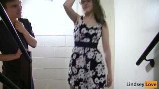 LindseyLove - Stairwell Quicky Boobs cumshot