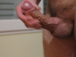 Massive Amateur Spurt after briefly jerking meaty thick cock