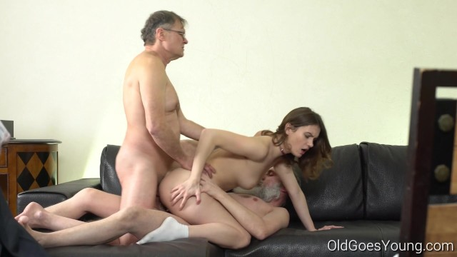 Old men young pussy double penetration - Old goes young - two old men talk babe