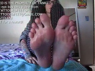 Sexy Tattooed Teen Worships Her Wet Wrinkled Feet and Soles