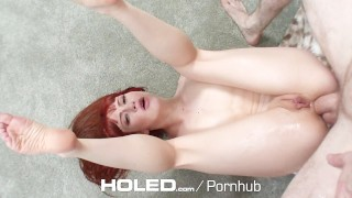 HOLED - Adria Rae and Megan Rain anal fucked in threesome Missionary ass