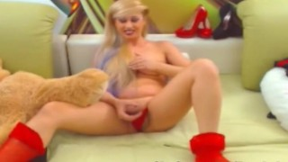 Blonde Shemale Babe Loves to Play her Cock