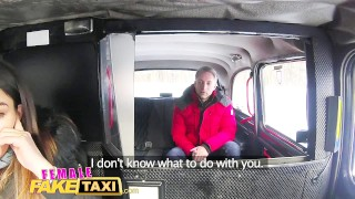 Preview 4 of Female Fake Taxi Sexy driver sucks and fucks fare to get even
