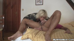 Wife leaves and blonde mommy jumps on his cock