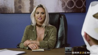 Rachel Roxxx has fun at the office costume party - Brazzers Licking black