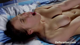 Defloration of Elza - first time sex with boyfriend Teen pov