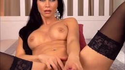 Brunette in stockings has multiple hard orgasms and squirts a lot