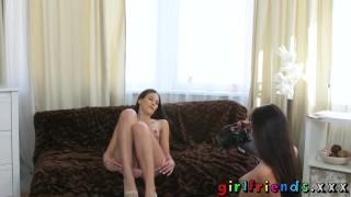 Erotic brunette besties audition girlfriends fingering small